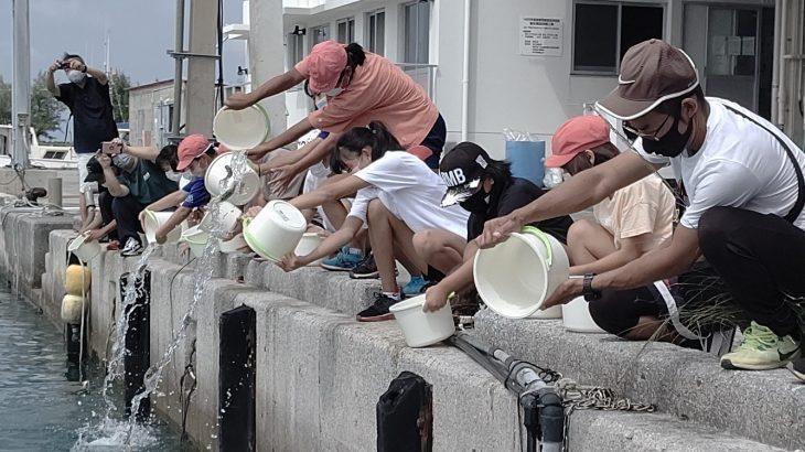 伊江島の6年生が「タマンの稚魚」を放流!サンゴの植え付け作業もお手伝い